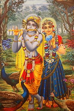 Painting depicting Hindu god Krishna with Radha, Vrindavan, Uttar Pradesh, India, Asia