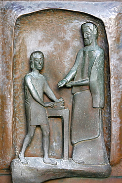 Annunciation Basilica door sculpture of Jesus and Joseph, Nazareth, Galilee, Israel, Middle East