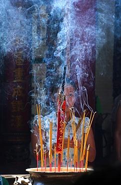 Incense sticks, Taoist temple, Phuoc An Hoi Quan Pagoda, Ho Chi Minh City, Vietnam, Indochina, Southeast Asia, Asia