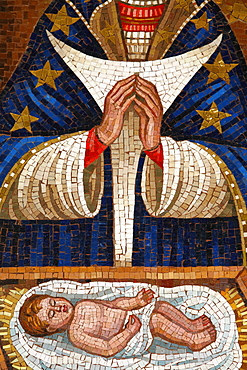 Detail of Slovenian Virgin mosaic, Annunciation Basilica, Nazareth, Galilee, Israel, Middle East