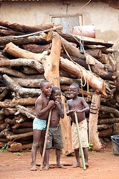 African children in a village, Sotouboua, Togo, West Africa, Africa