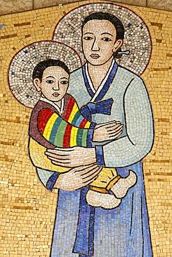 Mosaic of Korean Virgin, Annunciation Basilica, Nazareth, Galilee, Israel, Middle East