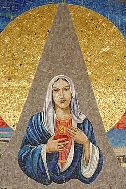 Mosaic of Italian Virgin (Madonna delle lacrime di Siracusa), Annunciation Basilica, Nazareth, Galilee, Israel, Middle East