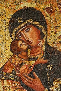 Mosaic of Greek Virgin, Annunciation Basilica, Nazareth, Galilee, Israel, Middle East