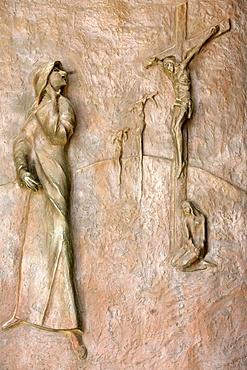 Door sculpture, Annunciation Basilica, Nazareth, Galilee, Israel, Middle East