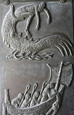 Sculpture of Jonah and the Whale on the door of the Annunciation Basilica, Nazareth, Galilee, Israel, Middle East