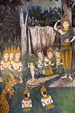 Fresco depicting Buddha as a child in a scene of the Buddha's life in Wat Phra Doi Suthep, Chiang Mai, Thailand, Southeast Asia, Asia