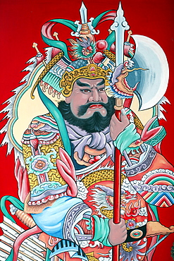 Guardian figure paintings on gate, Hoi Tuong Te Nguoi Hoa Buddhist Chinese temple, Phu Quoc, Vietnam, Indochina, Southeast Asia, Asia