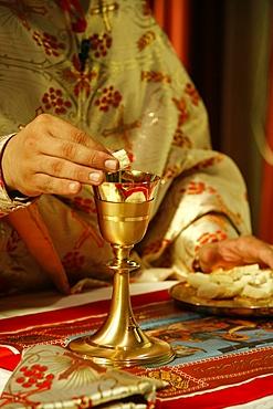 Melkite priest celebrating Mass, Nazareth, Galilee, Israel, Middle East