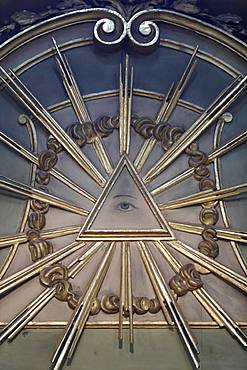 The Eye of Providence (The All-Seeing Eye of God), Cathedral of the Assumption of Mary and St. John the Baptist, Aosta, Aosta Valley, Italy, Europe