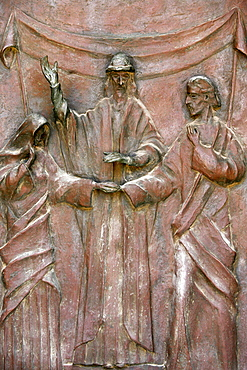 Sculpture of the wedding of Joseph and Mary on the door of the Annunciation Basilica, Nazareth, Galilee, Israel, Middle East