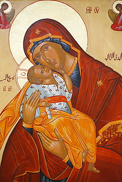 Melkite icon of the Virgin and Child, Nazareth, Galilee, Israel, Middle East