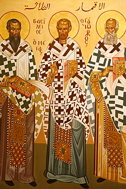 Melkite icon of doctors of the Church, Nazareth, Galilee, Israel, Middle East
