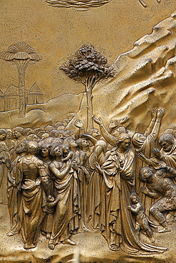 Hebrew people, Gates of Paradise, bronze doors of the Baptistry of San Giovanni,  Florence, Tuscany, Italy, Europe
