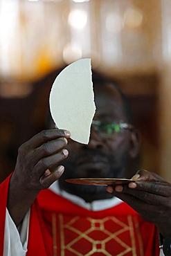 African church, Sunday Catholic Mass, Eucharist celebration, Agbonou Koeroma, Togo, West Africa, Africa