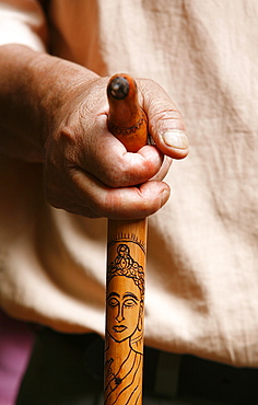 Stick engraved with a Buddha, Dakshin Kali, Nepal, Asia