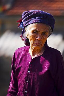 Portrait of an old woman Bridge keeper, Vietnam, Indochina, Southeast Asia, Asia