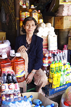 Trader At the Dong Ba Market, Hue, Vietnam, Indochina, Southeast Asia, Asia