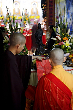 Monks at prayer in a Buddhist temple, Ho Chi Min City, Vietnam, Indochina, Southeast Asia, Asia