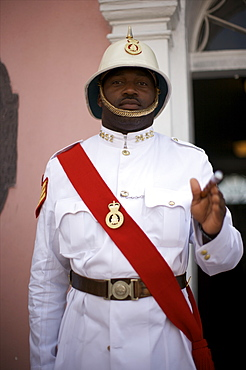 A guard in front of the Municipal building in Nassau, Bahamas, West Indies, Caribbean, Central America