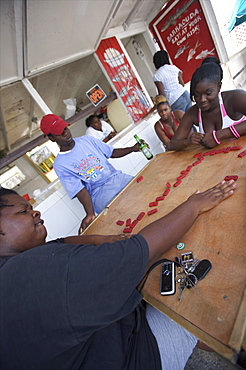 People playing dominos at the harbour of Nassau, Bahamas, West Indies, Caribbean, Central America