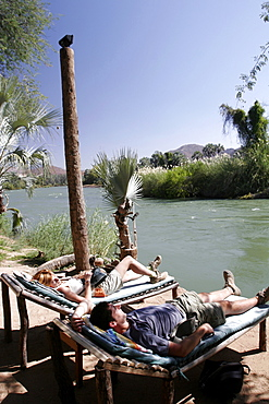 Epupa Tented Camp, on the Kunene River, in the middle of Himba country, on the border with Angola, Namibia, Africa