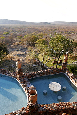 Swimming pool and beautiful panorama on Etosha and Damaraland, Eagle Tented Camp, Namibia, Africa