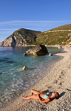 Petani beach on the west coast of Cephalonia, Ionian Islands, Greek Islands, Greece, Europe