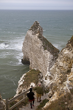 Limestone cliffs in the area of Etretat on the Alabaster Coast, Seine Maritime, Normandy, France, Europe