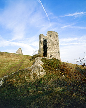 View looking towards one of the circular towers, Hadleigh Castle, Essex, England, United Kingdom, Europe