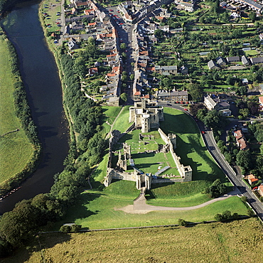 Aerial view, Warkworth Castle, Northumberland, England, United Kingdom, Europe