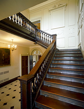 Interior view of the main hall showing the carved mahogany staircase dating from 1729, Marble Hill House, Twickenham, Middlesex, England, United Kingdom, Europe