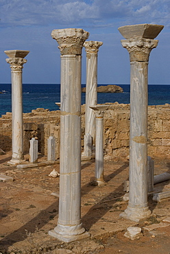 Ruins of the Central Church, late Roman site of Apollonia, Libya, North Africa, Africa