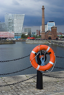 View of the renovated Albert Docks with a view towards the city, Liverpool, Merseyside, England, United Kingdom, Europe