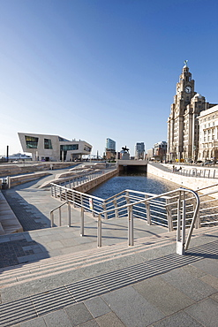 The Liver Building and new Ferry Terminal Building, a new branch of the Beatles Story Museum at the The Canal Link, Pier Head, Liverpool, Merseyside, England, United Kingdom, Europe