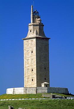 Hercules Lighthouse, UNESCO World Heritage Site, A Coruna, Galicia, Spain, Europe