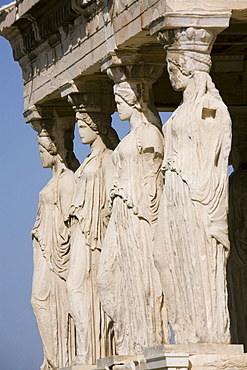 Detail of the four caryatids, Porch of the Caryatids, Erechtheion, Acropolis, UNESCO World Heritage Site, Athens, Greece, Europe