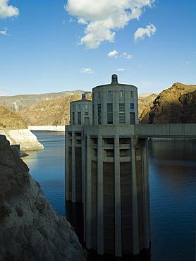 Hoover Dam water turbine towers, Nevada, United States of America, North America