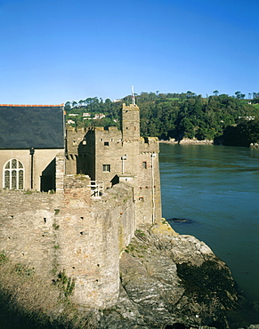 The Old Castle from the south west looking across the haven, Dartmouth Castle, Devon, England, United Kingdom, Europe
