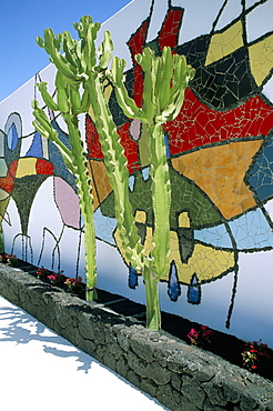 Wall painting by Cesar Manrique at the Cesar Manrique Foundation, Lanzarote, Canary Islands, Spain, Europe