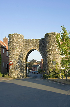 View from the north of the Bailey Gate, Castle Acre, Norfolk, England, United Kingdom, Europe