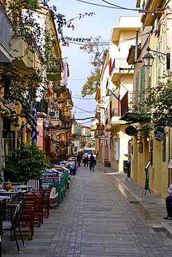 Pedestrian zone of Nafplio, Peloponnese, Greece, Europe
