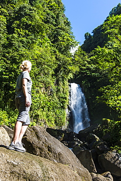 Tourist looking at the Trafalgar Falls, Morne Trois Pitons National Park, UNESCO World Heritage Site, Dominica, West Indies, Caribbean, Central America