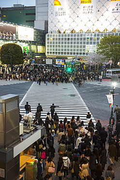 People waiting on the busiest street crossing, Shibuya crossing, Tokyo, Japan, Asia