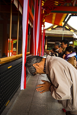 Praying pilgrim in the Endless Red Gates of Kyoto's Fushimi Inari Shrine, Kyoto, Japan, Asia