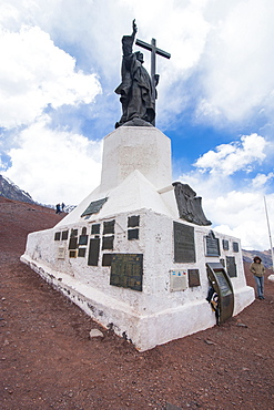 Monument of Christo Redentor (Christ the Redeemer) on a mountain pass between Mendoza and Santiago, Andes, Argentina, South America