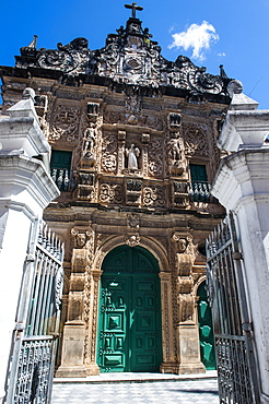 Ornamented gate of the Bonfirm church in the Pelourinho, UNESCO World Heritage Site, Salvador da Bahia, Bahia, Brazil, South America