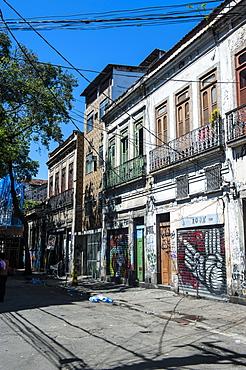 Graffiti art work on houses in Lapa, Rio de Janeiro, Brazil, South America