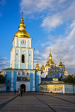 St. Michael's gold-domed cathedral at sunset, Kiev (Kyiv), Ukraine, Europe