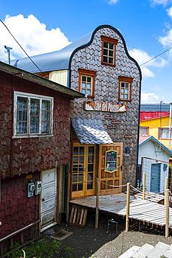 Shingle house in Castro, Chiloe, Chile, South America